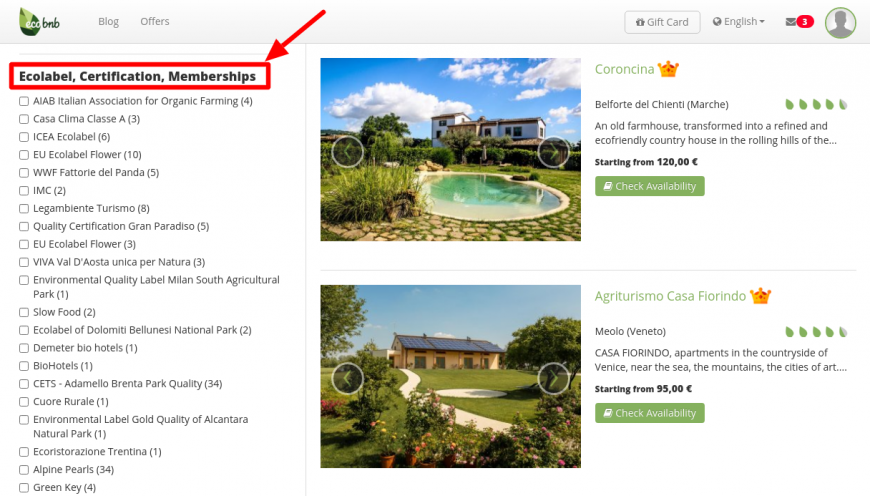 Eco Labels Search on Ecobnb