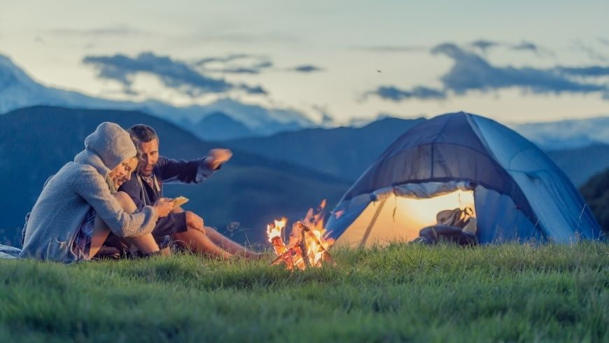 sustainable camping, tent, couple, nature