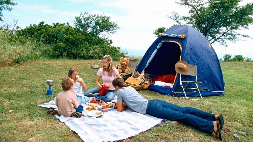 camping, tent, family, nature